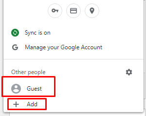 chrome use guest or add user